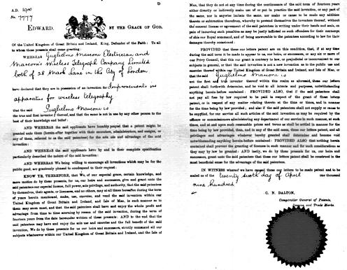 Patente inglesa Nº7777